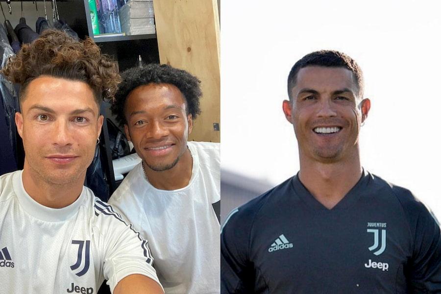Слева — Криштиану Роналду с полузащитником «Ювентуса» Хуаном Куадрадо, справа — Криштиану Роналду сейчас
