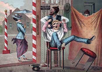 Сохранилось много карикатур на цирюльни тех времен. Неудивительно, что дети боялись парикмахеров не меньше, чем стоматологов