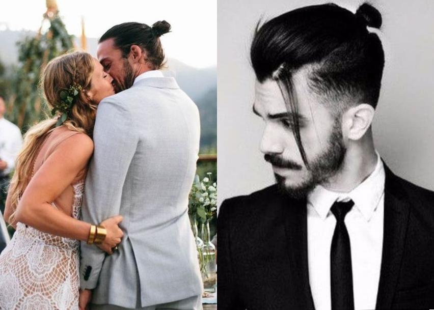 Слева — классический мужской пучок, справа — стрижка top knot