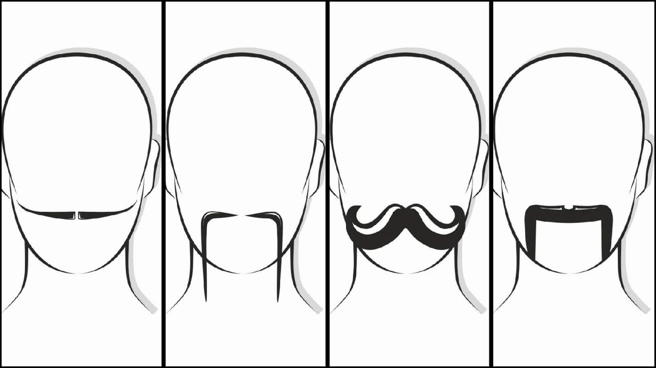 Слева направо — английские усы, Фу Манчу, императорские усы, подкова