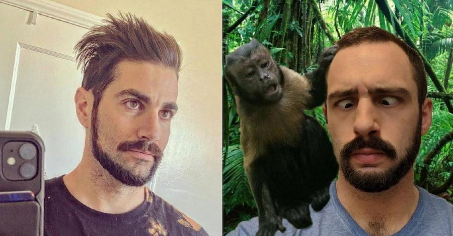 Проще всего решиться на «обезьяний хвост», когда у тебя щетина. Но у этих мужчин, судя по длине волос, была густая борода