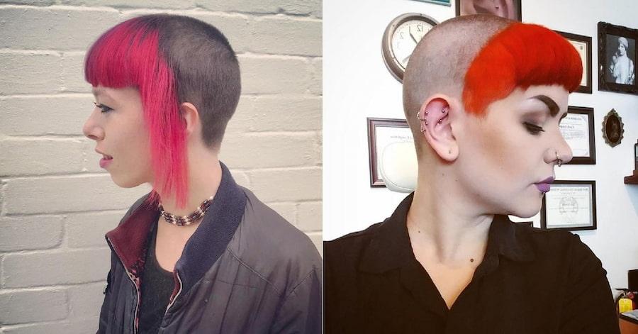 Для большего эффекта можно покрасить волосы (или то, что от них осталось) в яркий цвет