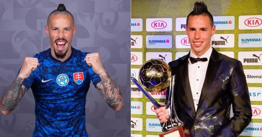 Со временем ирокез стал короче. Слева — футболист перед Евро-2020, справа — 2015 год
