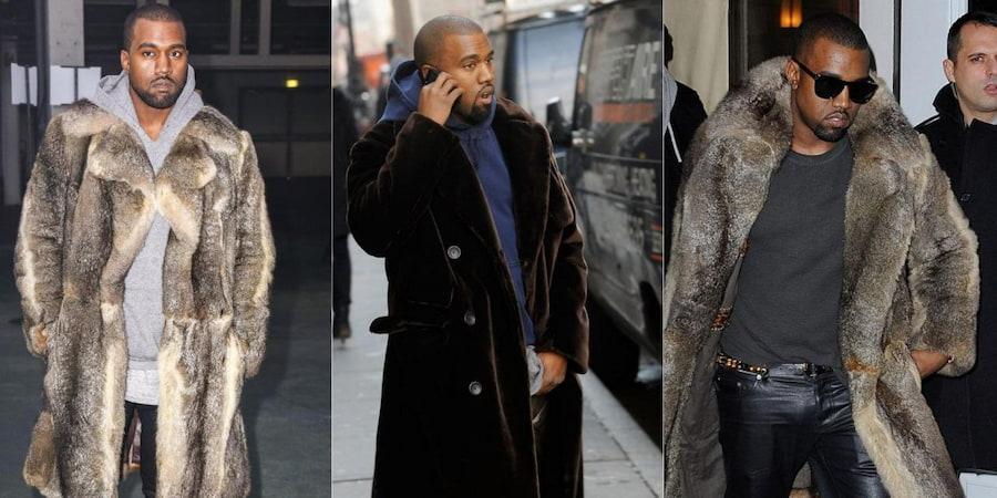 Многим запомнилось появление Канье в шубе, накинутой на худи, и кожаных брюках на неделе моды в Париже (слева)
