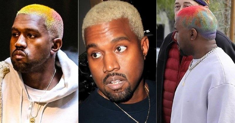 Хип-хоп-исполнителей часто можно увидеть с обесцвеченными волосами, но Канье пошел дальше и покрасился в «радугу»