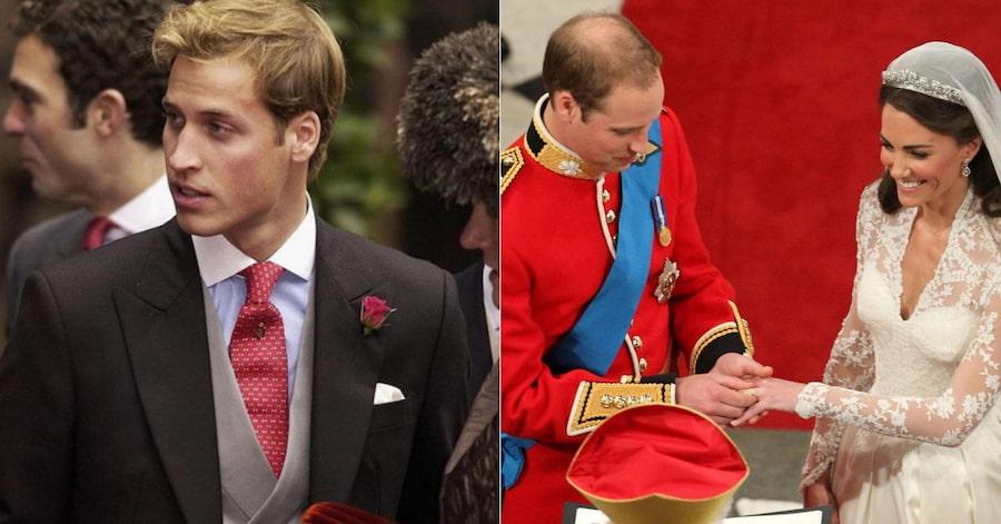 Глядя на фотографию слева, вряд ли кто-то мог подумать, что после 23 лет принц начнет стремительно лысеть