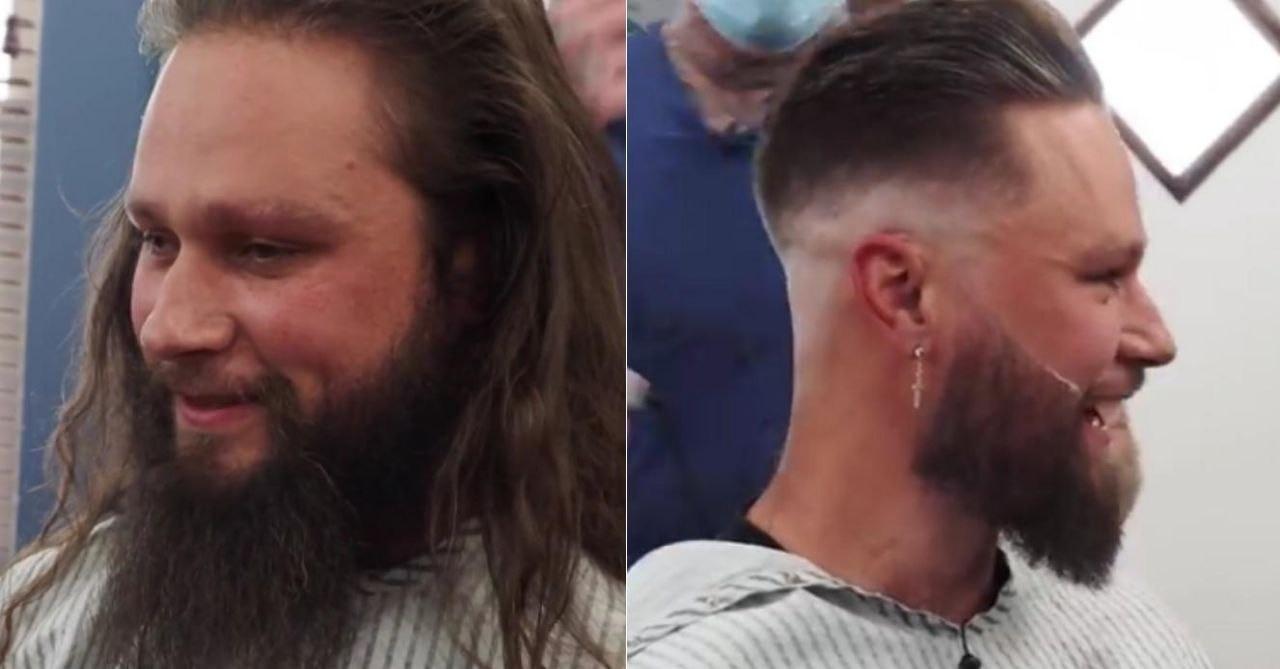 Этот мужчина не стригся и не брился 5 лет. По всей видимости, теперь ему придется ходить к барберу чаще (кадры из видео на YouTube-канале «Beardbrand»)