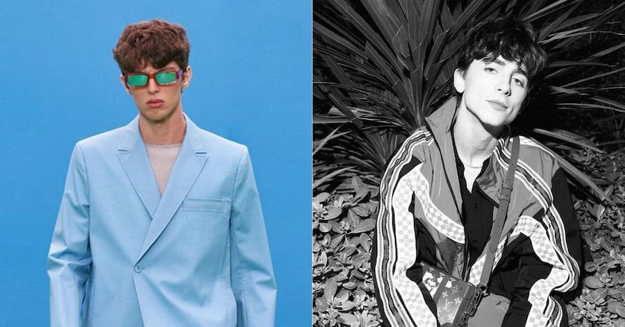 Слева — модель на показе осенней коллекции Jacquemus, справа — Тимоти Шаламе на Каннском кинофестивале