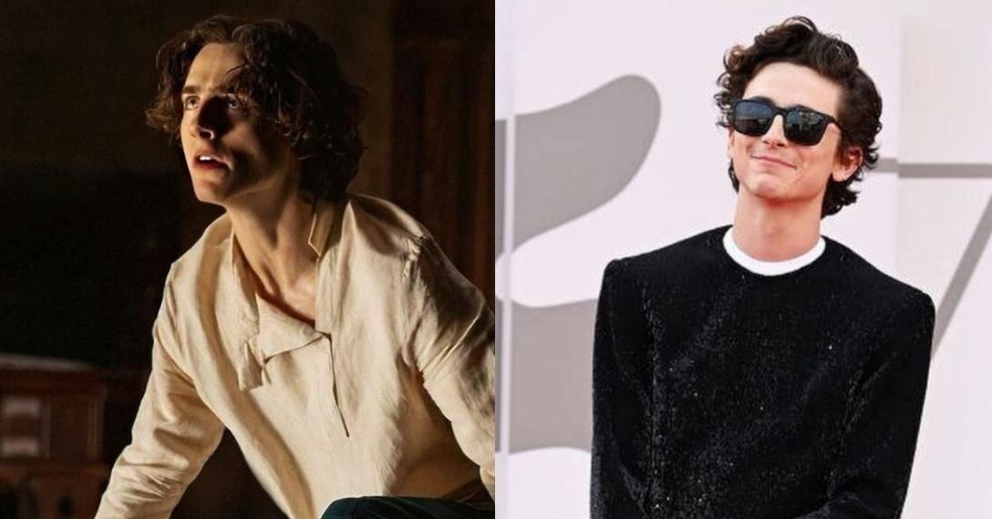 Слева — кадр из фильма, справа — Тимоти Шаламе на премьере «Дюны» на Венецианском кинофестивале