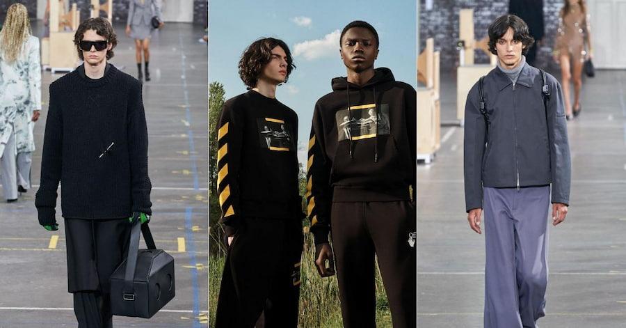 Особенно кертенс полюбили стилисты и дизайнеры Off-White. Слева и справа — кадры с осеннего показа, посередине — Off-White в Instagram