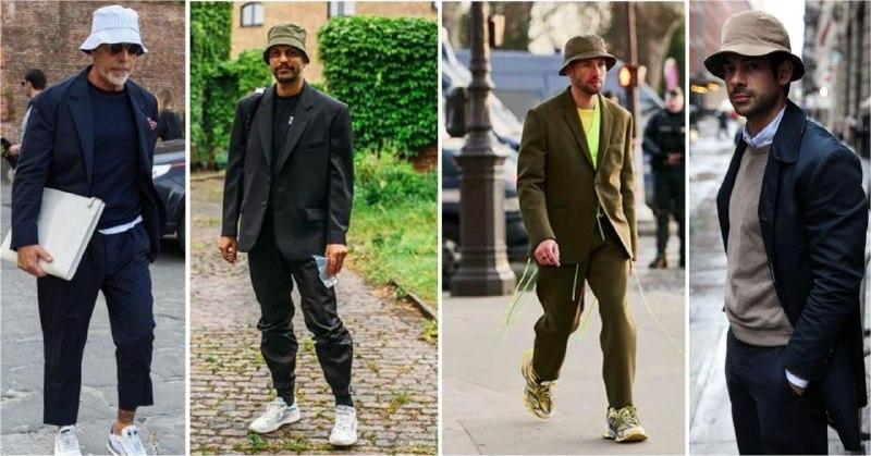 Ходить в одном костюме по улице уже холодно. Вместо пиджака можно надеть однотонный бомбер и подобрать панаму в цвет обуви или другой вещи (1 фото — Lookastic, 2, 3 — TheTrendSpotter, 4 — Pinterest)