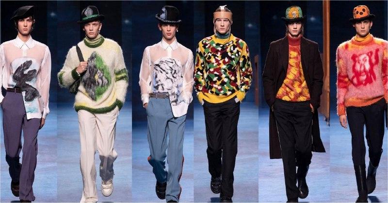 В этом сезоне актуальны даже шляпы-котелки. На показе Dior осень-зима 2021/22 можно было увидеть такие модели с рисунками. Правда, варианты справа выглядят чересчур креативно (фото с @metro.society в Instagram)